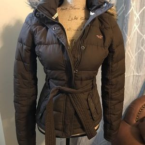 Hollister Puffy Coat with Fur Hood